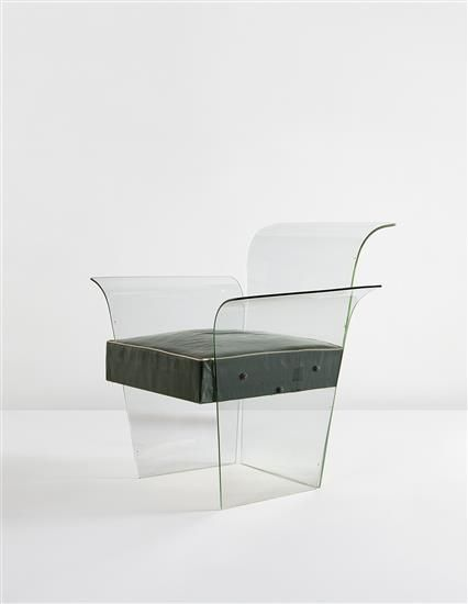 RENÉ COULON Armchair, circa 1938  Tempered glass, coated canvas. 29 5/8 x 29 1/4 x 26 1/2 in. (75.2 x 74.3 x 67.3 cm) Produced by the Glaceries de Saint-Gobain, France. Each panel etched with Glace Sécurit.
