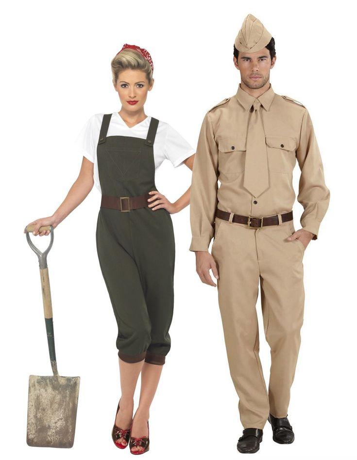 Déguisement de couple soldat de guerre adulte : Déguisement paysanne guerre femmeCe déguisement de paysanne de guerre pour femme se compose d'un t-shirt, d'une salopette et d'un bandana (pelle et chaussures non inclus)....