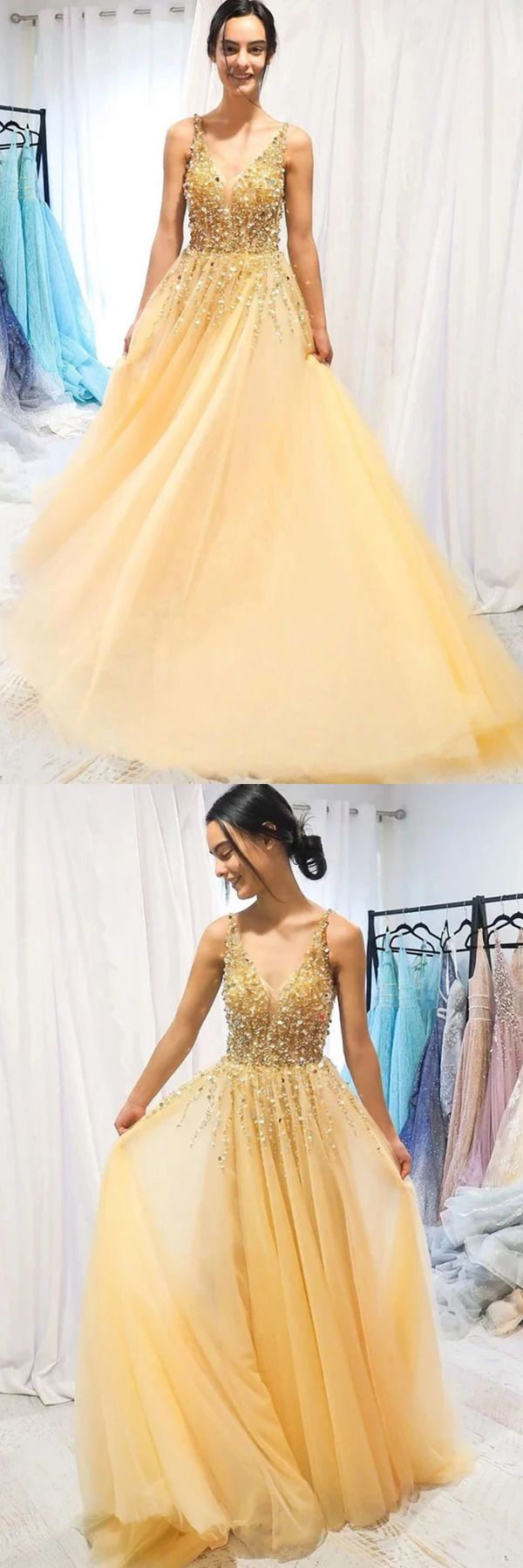 A Line Floor Length Tulle Prom Dress With Sequins Cheap V Neck Long Formal Stcp1njg7jc Cheap Formal Dresses V Neck Prom Dresses Tulle Prom Dress [ 1800 x 600 Pixel ]