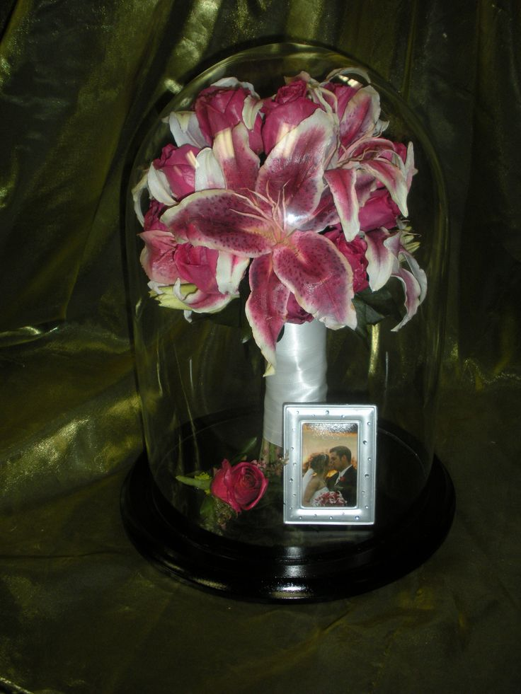 preserved wedding stargazer flowers in a glass dome. Black Bedroom Furniture Sets. Home Design Ideas