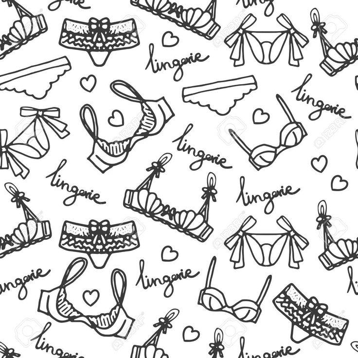 Lingerie seamless pattern. Vector underwear background design. Outline hand drawn illustration. Bras and panties doodle. Fashion feminine wallpaper. Foto de archivo - 56168883
