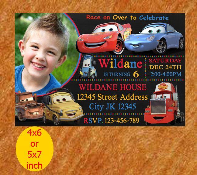 Cars Birthday Invite, Disney Cars Invitation, Chalkboard Custom Birthday Invitation, Cars Party Invites, Cars Lightening McQueen Invitation by momontArt on Etsy