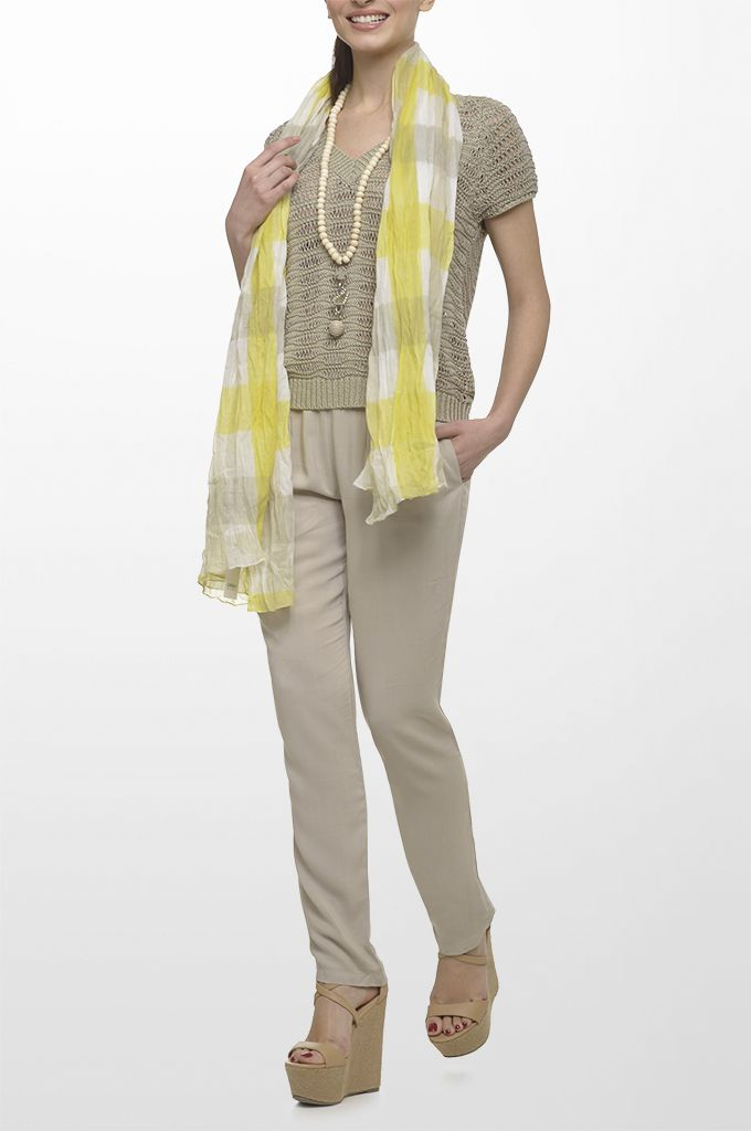Sarah Lawrence - open stitch short sleeve sweater, draw string loose trouser, printed scarf, necklace.
