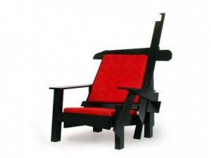 Maarten Baas Rood blauwe stoel uit de 'smoked' collectie