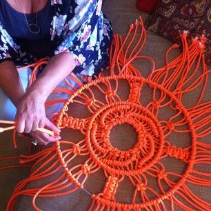 Making macrame medallions for the 'Etsy At David Jones' event Sydney December 2014