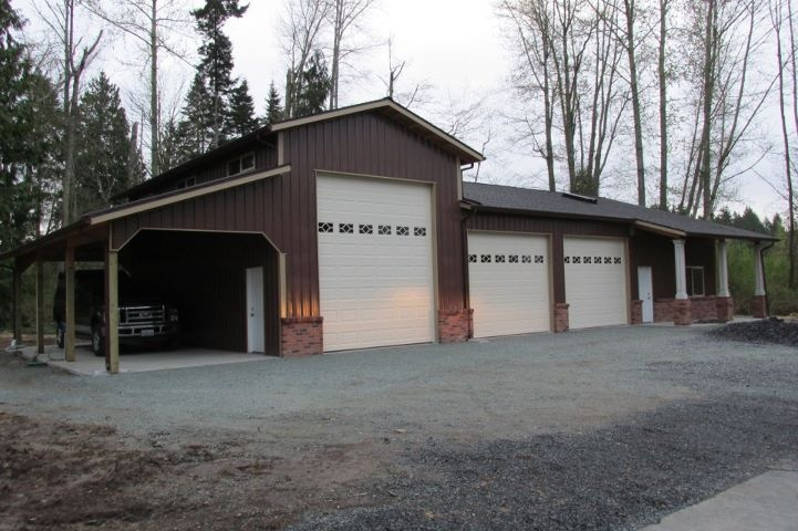 Garage rv office combo in snohomish wa constructed by for Carport shop combo