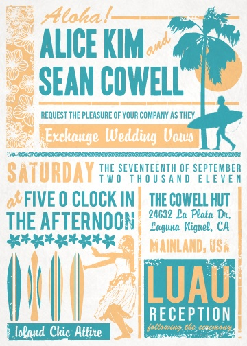 Luau Wedding Invitation from www.howinviting.com