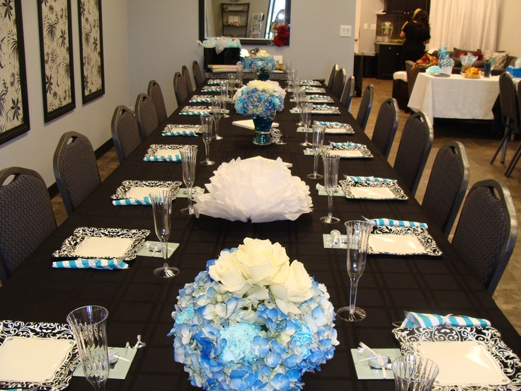Baby boy shower table setting baby shower pinterest Baby shower table setting