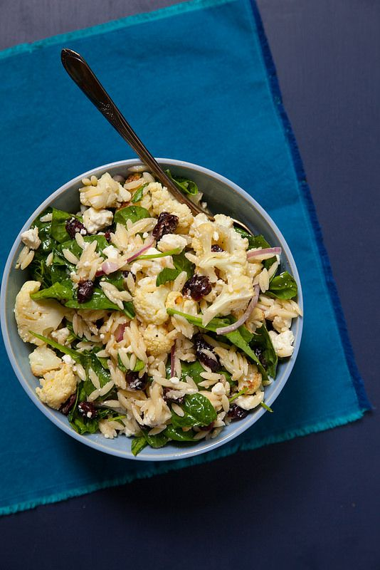 Orzo Salad with Roasted Cauliflower, Spinach and…