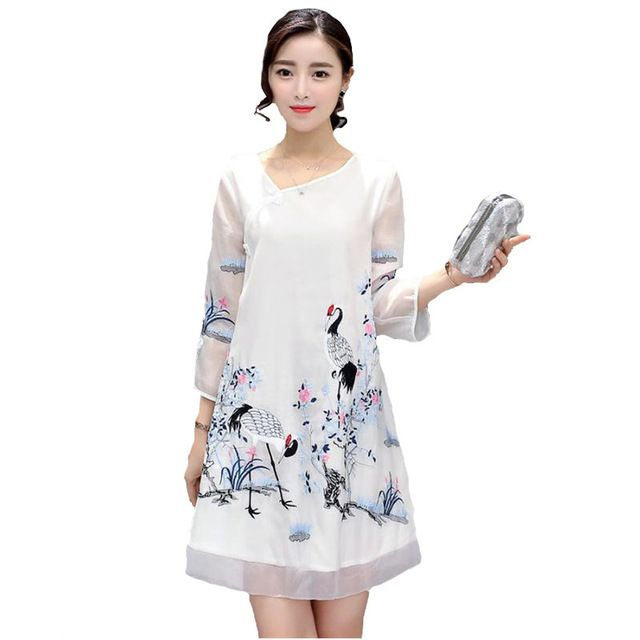 Fasbys Sexy Charming Retro Crane Pattern Embroidery Transparent 3/4 Sleeve Dress Women Chinese Traditional Cheongsam Slim Qipao