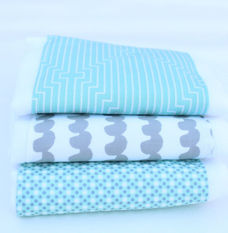 Gender Neutral Burp Cloths, Burp Cloth Set, Gray and Sea Foam Green Burp Cloth Set, Burp Rags, Baby Burp Clothes, Baby Shower Gift, Set of 3 by UrbanAnneDesigns on Etsy