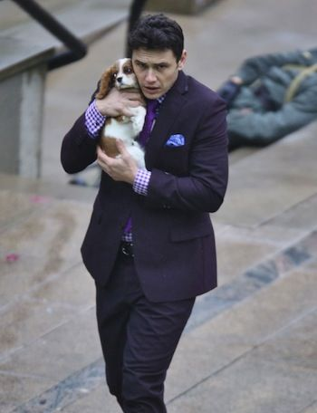 """James Franco Cuddles With a Pup on """"The Interview"""" Set"""