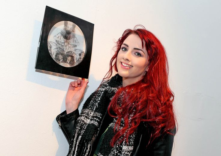 Louise O' Neill, exhibitor with her acetate drawing. - www.noelbrownephotographer.com