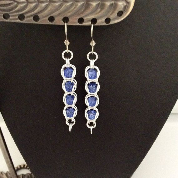 Captured beads Chainmaille earrings in silver by DragonTearDesigns