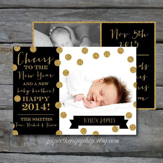 NEW YEAR  Birth Announcement Black and Gold Glitter and confetti