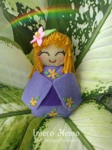 Kawaii purple felt doll