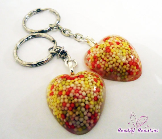 Resin Sprinkle Heart Keychain/ Key ring Pink by SBeadedbeauties, £6.00