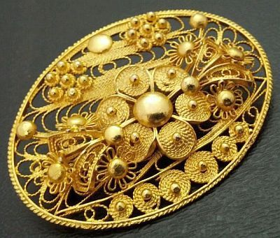 "Vintage Cannetille Filigree Brooch Pin 1000 Mark/Gold Wash Silver Metal OLD C Clasp 2"" VG"