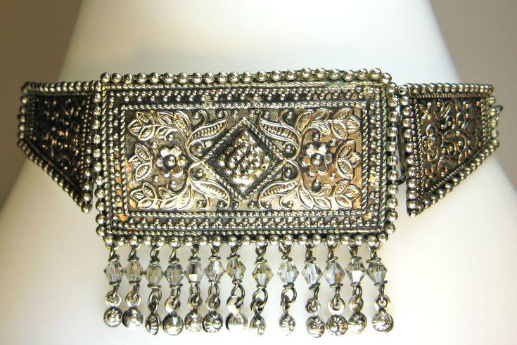 Intricate Indian Ethnic Antique Beaten Silver Effect Choker Collar Necklace Smokey Grey Swarovski Crystal