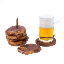 Olive Wood Serving Accessories Handmade, Wooden Rustic Drink Coasters Set of 6 with Base