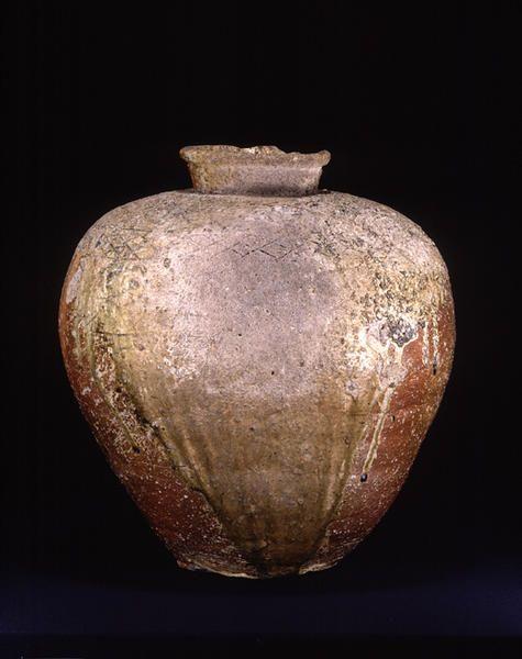 TitleLarge Jar, known as GOSHOGAKI ProvenanceShigaraki kiln, Shiga pref. PeriodMuromachi period Century15c MaterialsShigaraki ware DimensionsH-43 D-41  Tokyo National Museum, Tokyo