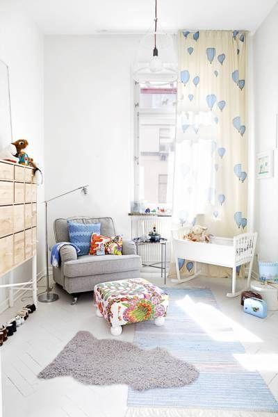 small rocking crib  blue cream grey gray baby room nursery