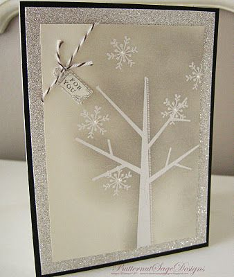 Season of Friendship in Crumb Cake and Very Vanilla w pearls and twine: Crumb Cakes, Trees Cards, Christmas Cards, Snowflakes Cards, Cards Christmas Trees, Vintage Magic, Winter Cards, Christmas Wint, Nice Colors