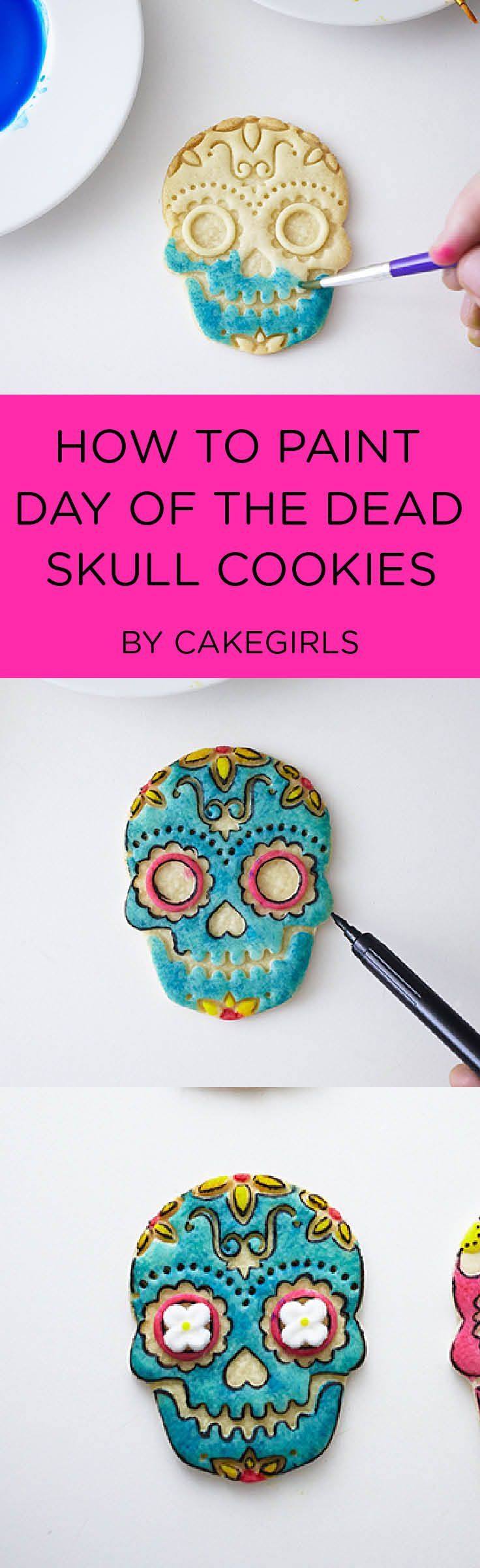 Stamped and Painted Day of the Dead Sugar Cookies | See the Step x Step!