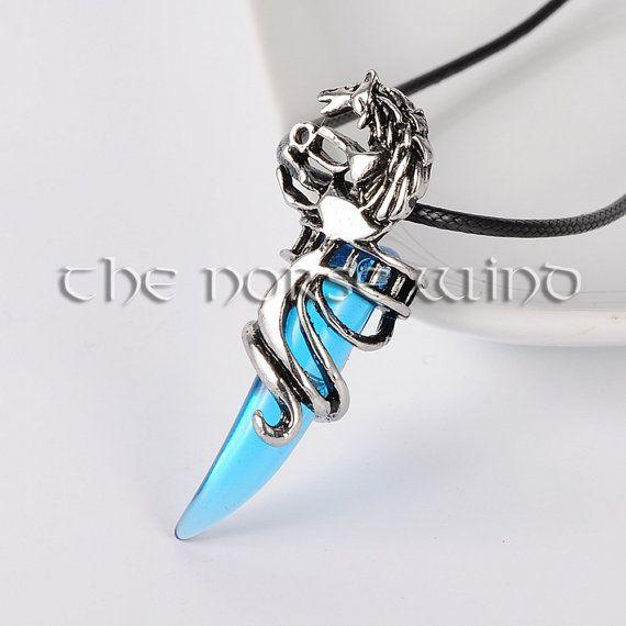 Fenrir Wolf Necklace, Viking Wolf Head Necklace, Blue Tooth Pendant, Viking Amulet, Celtic Jewelry, Norse Mythology, Viking Jewelry