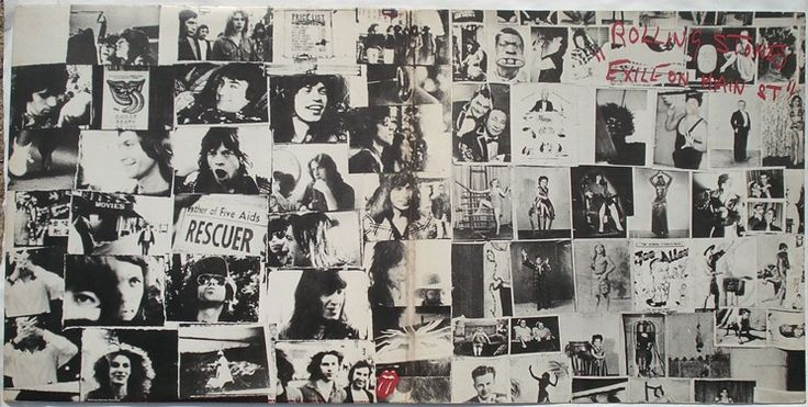 The back and front cover gatefold of the original Exile on Main St. LP, designed by John Van Hamersveld, featuring photos by Norman Seeff and Robert Frank