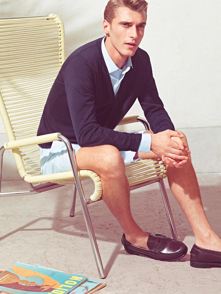 » De Fursac Spring/Summer 2013 Lookbook Retro is where it's at. Classic navy blue cardigan over crisp white oxford shirt, blue shorts, and sharp loafers.