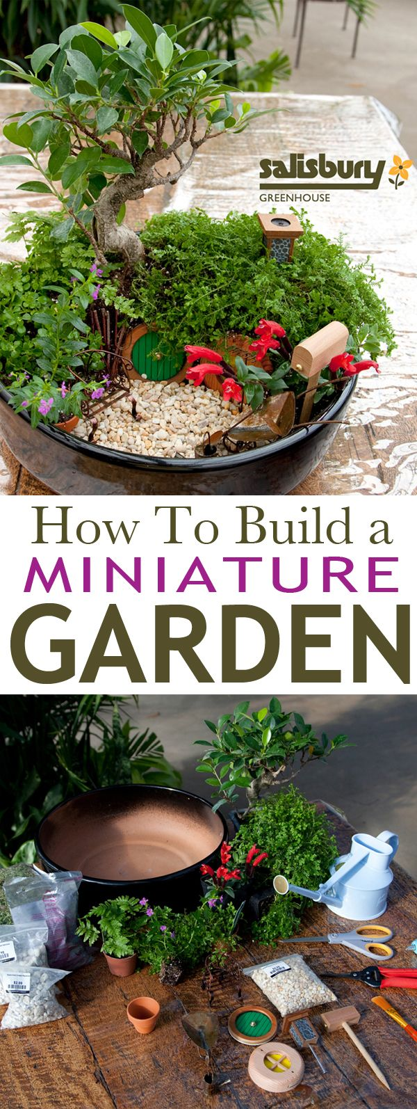 How To Build a #MiniatureGarden with Salisbury Greenhouse. #FairyGardening and a few other nice tutorials