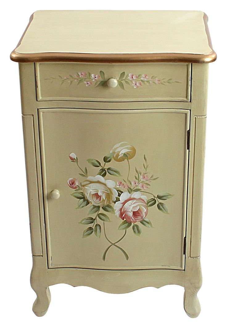 Wooden commode with roses #floral - Discover our amazing collection of #drawers and #consoles at www.inart.com