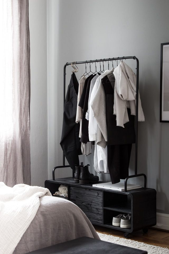 The beautiful bedroom of interior designer Genevieve Jorn. Cloithes rail from Nordal.