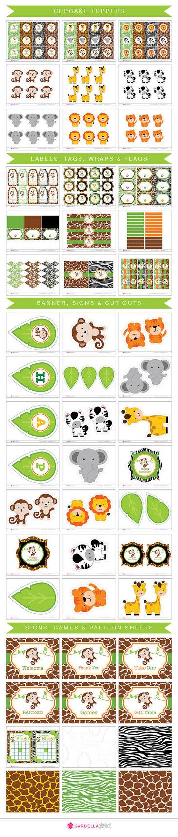 Jungle Party Printable's, Safari, Monkey, Animals, Zoo, Wild, Invitation, Thank you Card, Birthday Banner, Games, Labels, Water Bottle Wraps, Candy Wraps, Centerpieces, Favor Tags