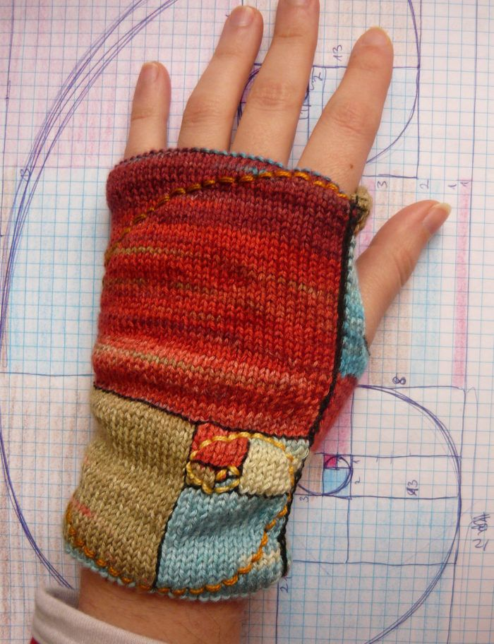 Free Knitting Pattern for Golden Mean Mitts -  These fingerless mitts feature the golden mean with spiral on the top and on Fibonacci numbered stripes on the palm. These mitts depict the classic geometric representation of the golden ratio.  From Wikipedia: Two quantities are in the golden ratio if their ratio is the same as the ratio of their sum to the larger of the two quantities. Designed by Buús-Zsohár Anna