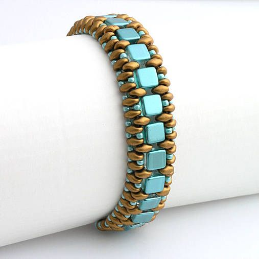Cleopatra bracelet - superduo and czech tile beads