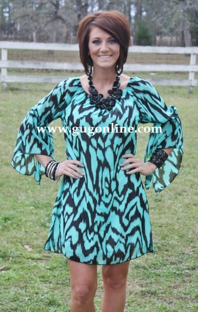 Giddy Up Glamour  $29.95  Waiting On That Moment Black and Turquoise Dress