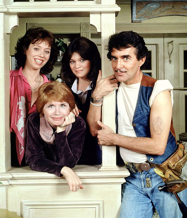 One Day at A Time - 70's TV show  Bonnie Franklin as Ann Romano, a divorced mother who moves to Indianapolis with her two teenage daughters Julie and Barbara Cooper (Mackenzie Phillips, Valerie Bertinelli) with Dwayne Schneider (Pat Harrington) as their building superintendent.