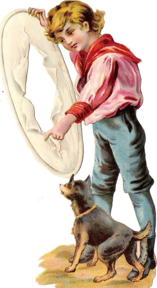 Oblaten Glanzbild scrap die cut chromo Kind child 17cm Hund dog Raphael Tuck ?