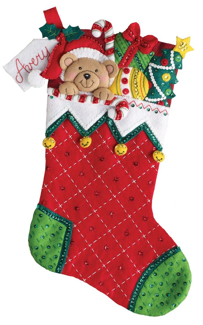 "Bucilla ""Peek-A-Boo"" Teddy Christmas Stocking kit. Exclusive MerryStockings product, 18"" in size. Available now (January 2017)"