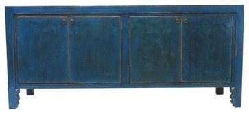 Andrea Blue 4 Door Tall Sideboard - asian - buffets and sideboards - los angeles - Madera Home
