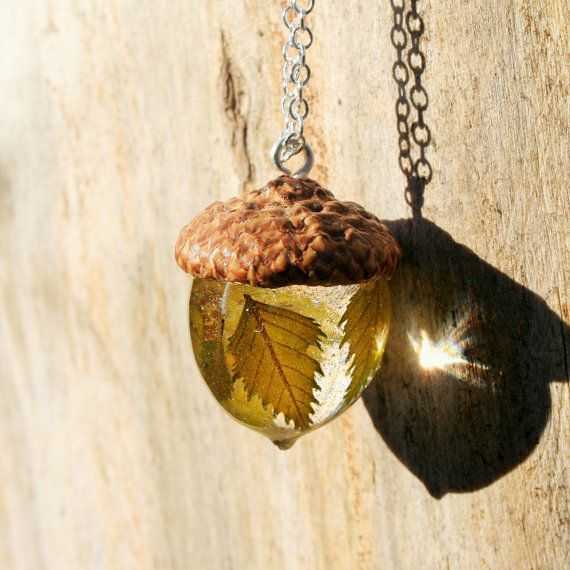 Acorn Necklace with Birch Leaves Eco Friendly Jewelry by tepido