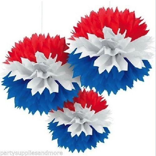 Patriotic Fluffy Red White Blue Pom Decoration July 4th Party Supplies Lantern | eBay