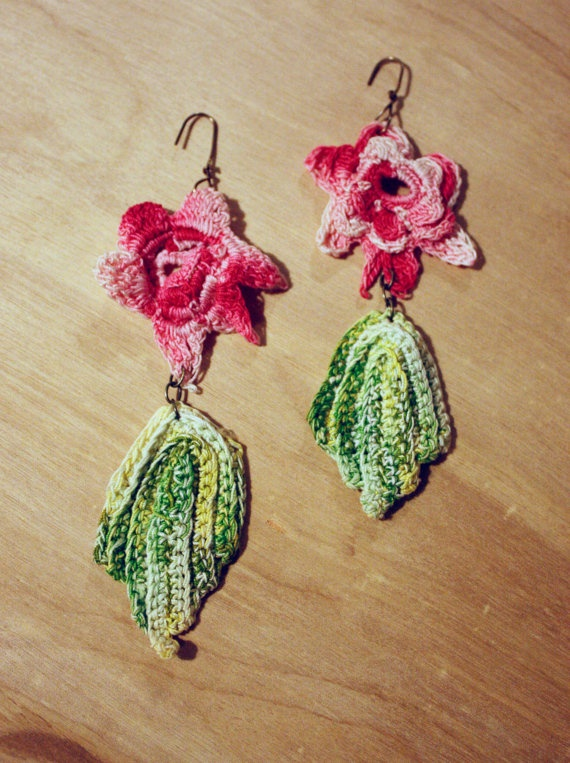 Dangly earrings with vintage pink crochet flowers and green leaves