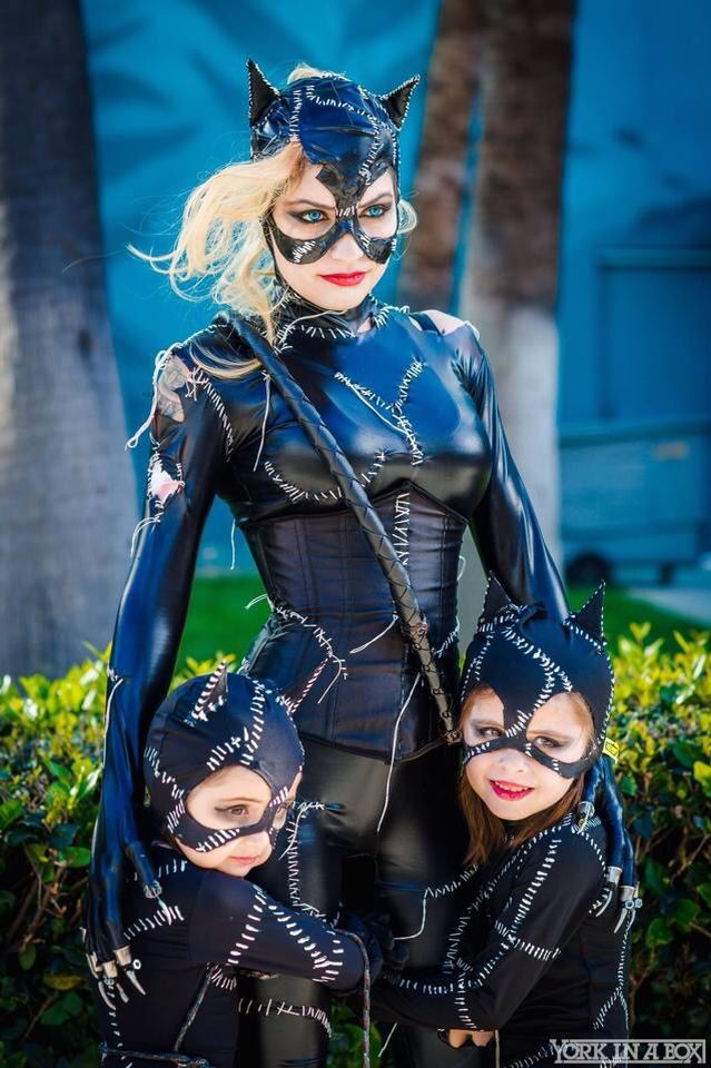 Cat woman and little cat baby
