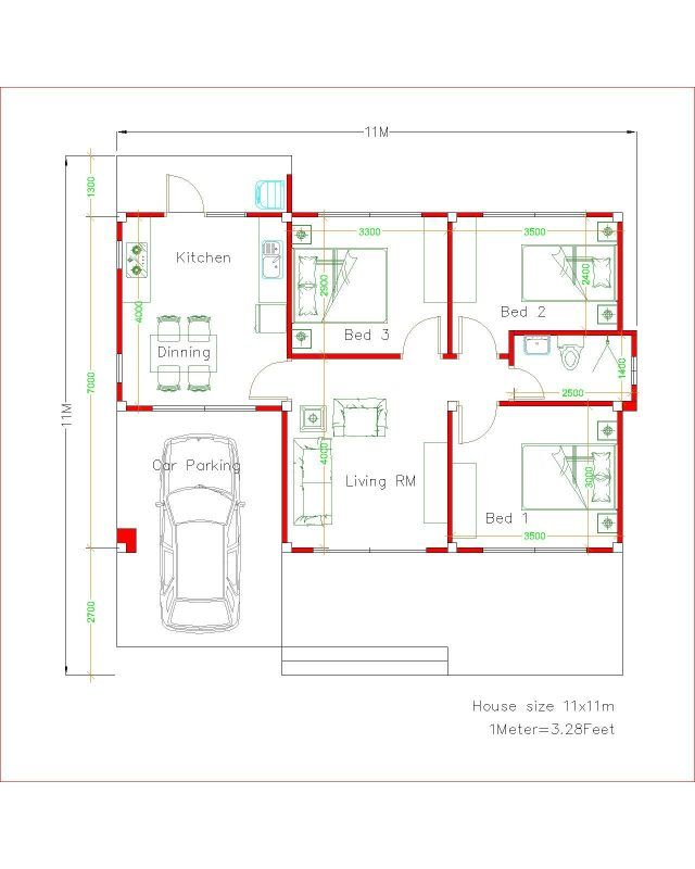 Simple House Design Plans 11x11 With 3 Bedrooms Full Plans House