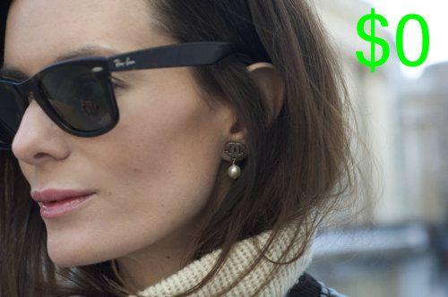 black ray ban wayfarers dainty chanel earrings