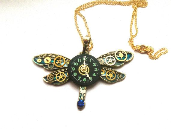 Steampunk Dragonfly necklace blue and gold by DragonflyHJewellery
