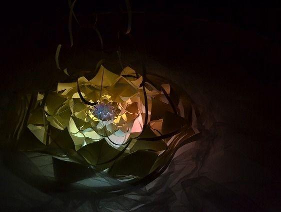 半沢政人さんという紙の造形アーティストの作品。光の種という展覧会での作品で、紙と光のコラボレーションが美しい。